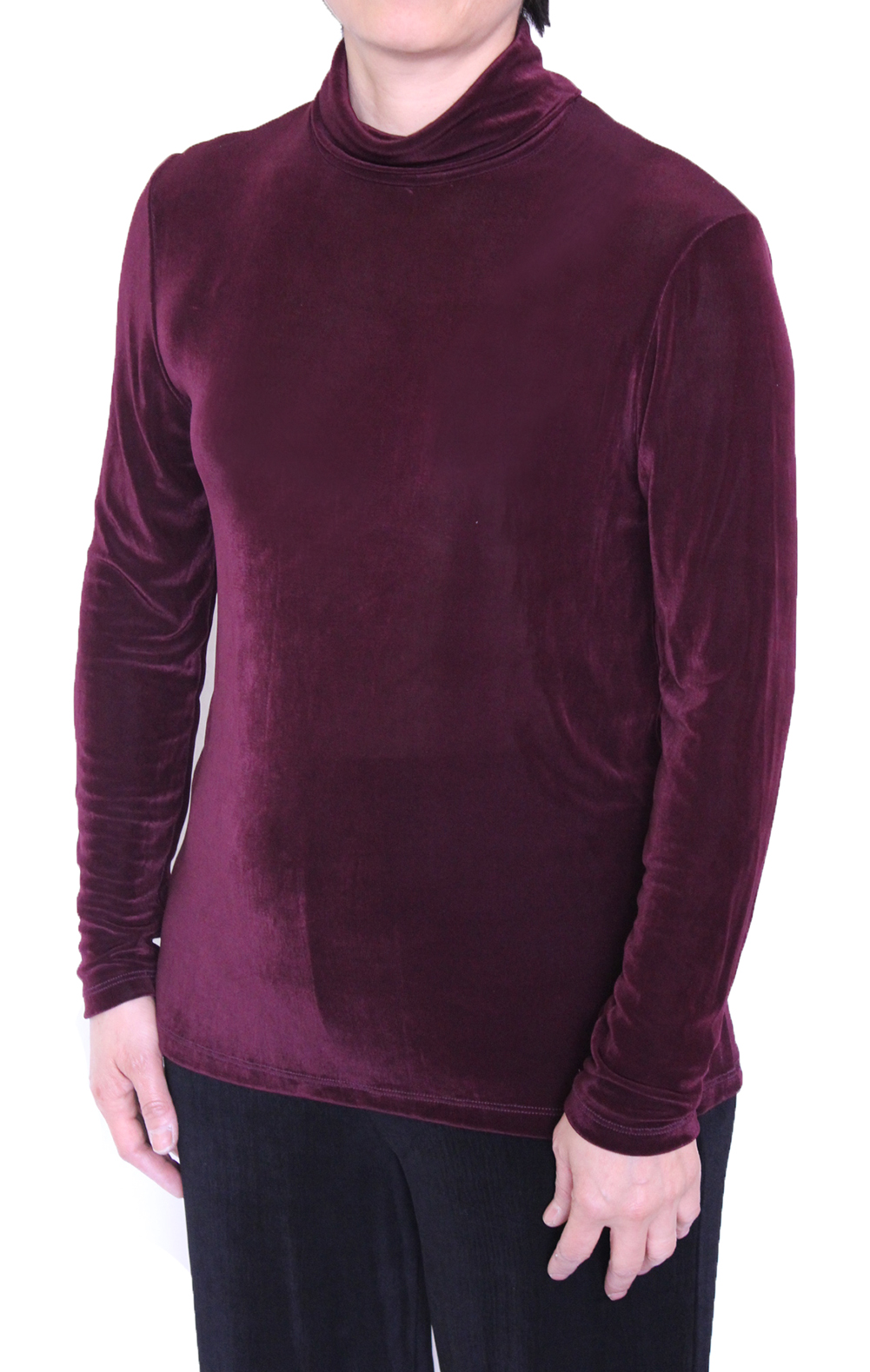 Burgundy Women Slinky Mock Neck Long Sleeve Top (H001-3)