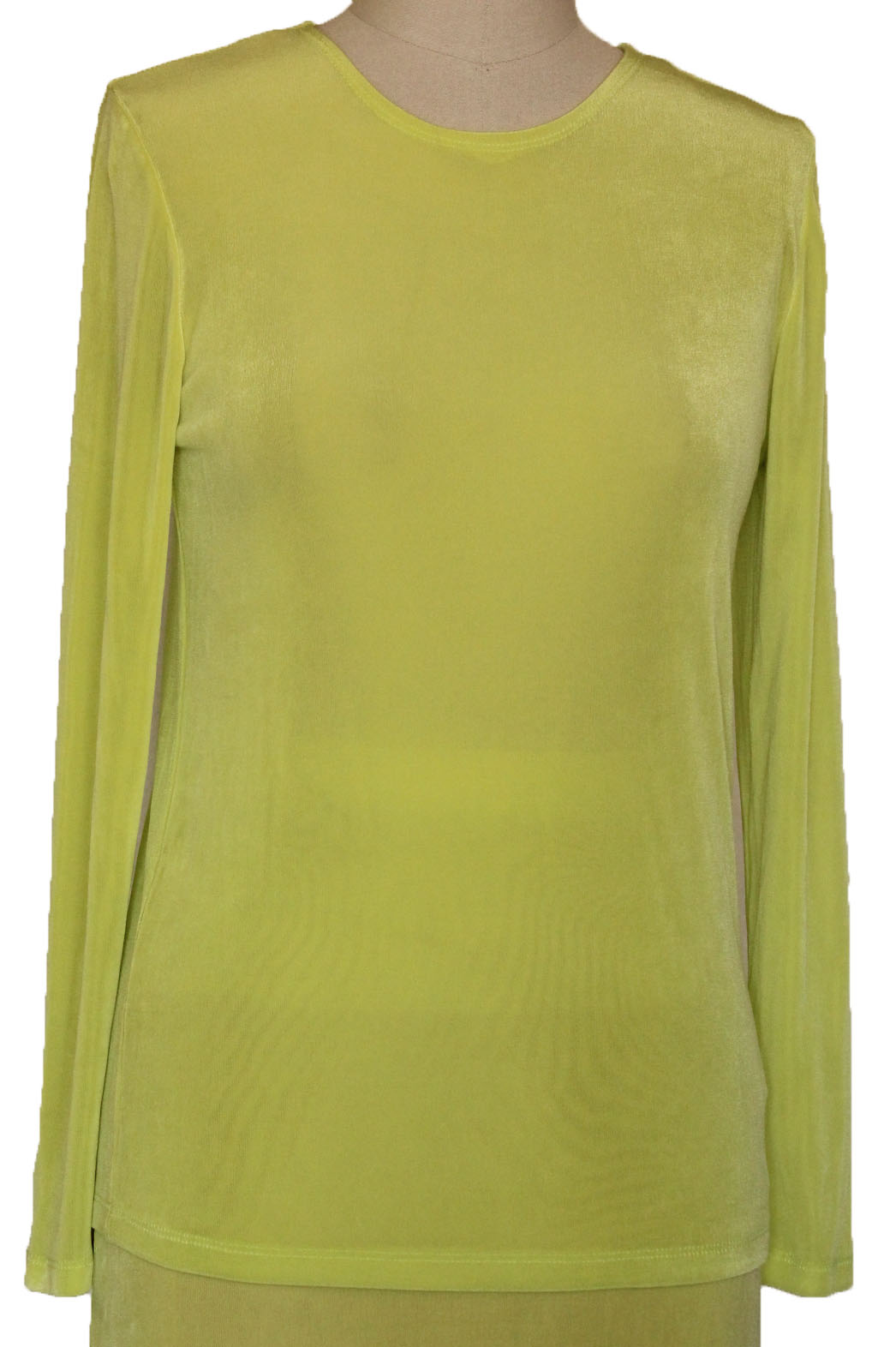 Lime Slinky Jewel Neck Tunic Long Sleeve Top (016-1)