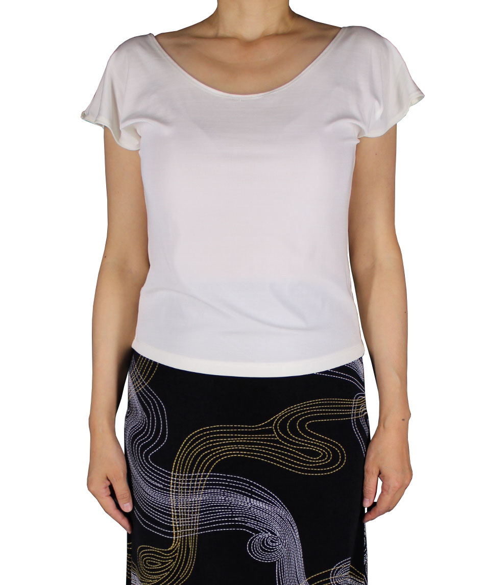 Women&#39s Acetate Slinky White Cap Sleeve Top