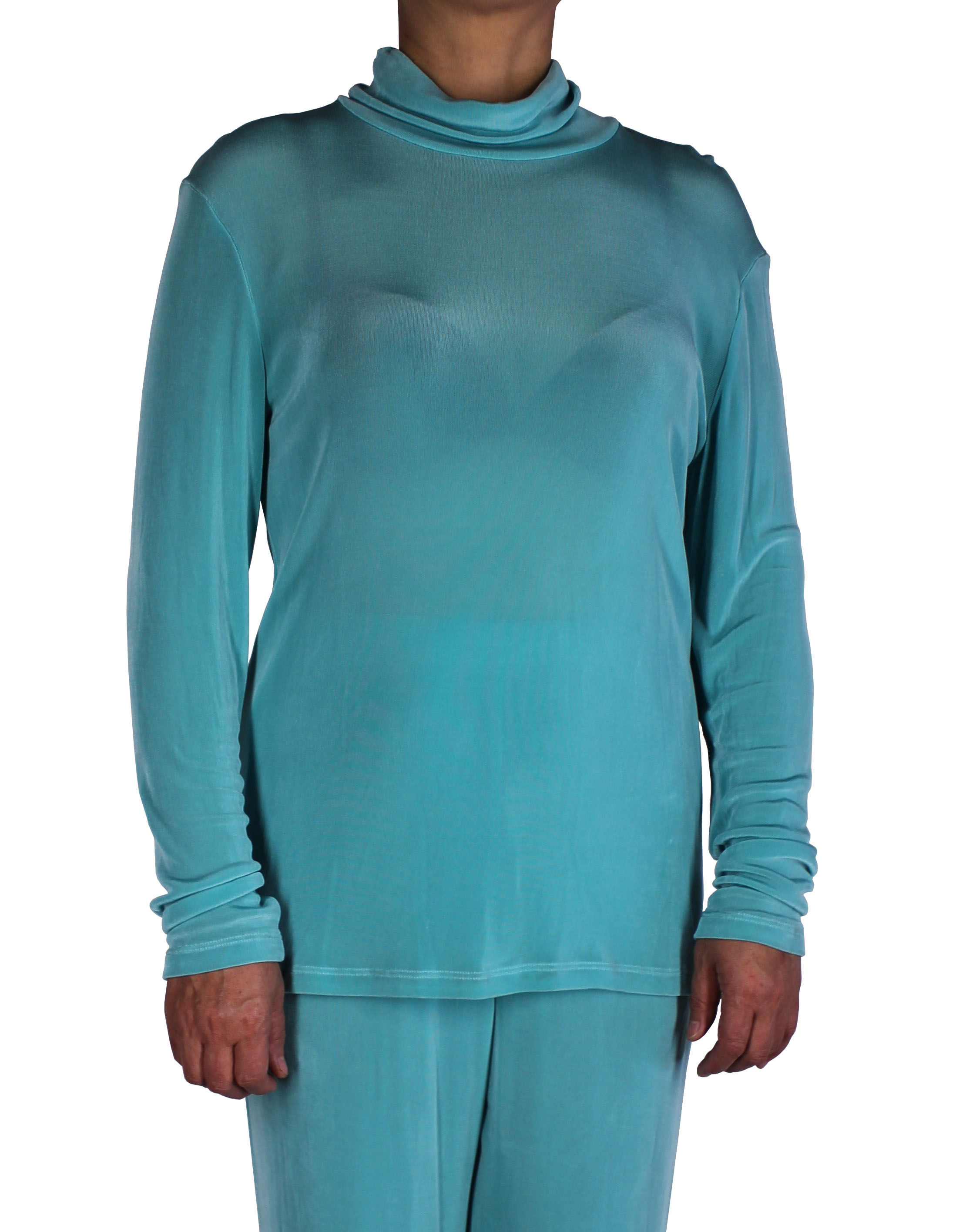 Aqua Women Slinky Mock Neck Long Sleeve Top (H001-3)