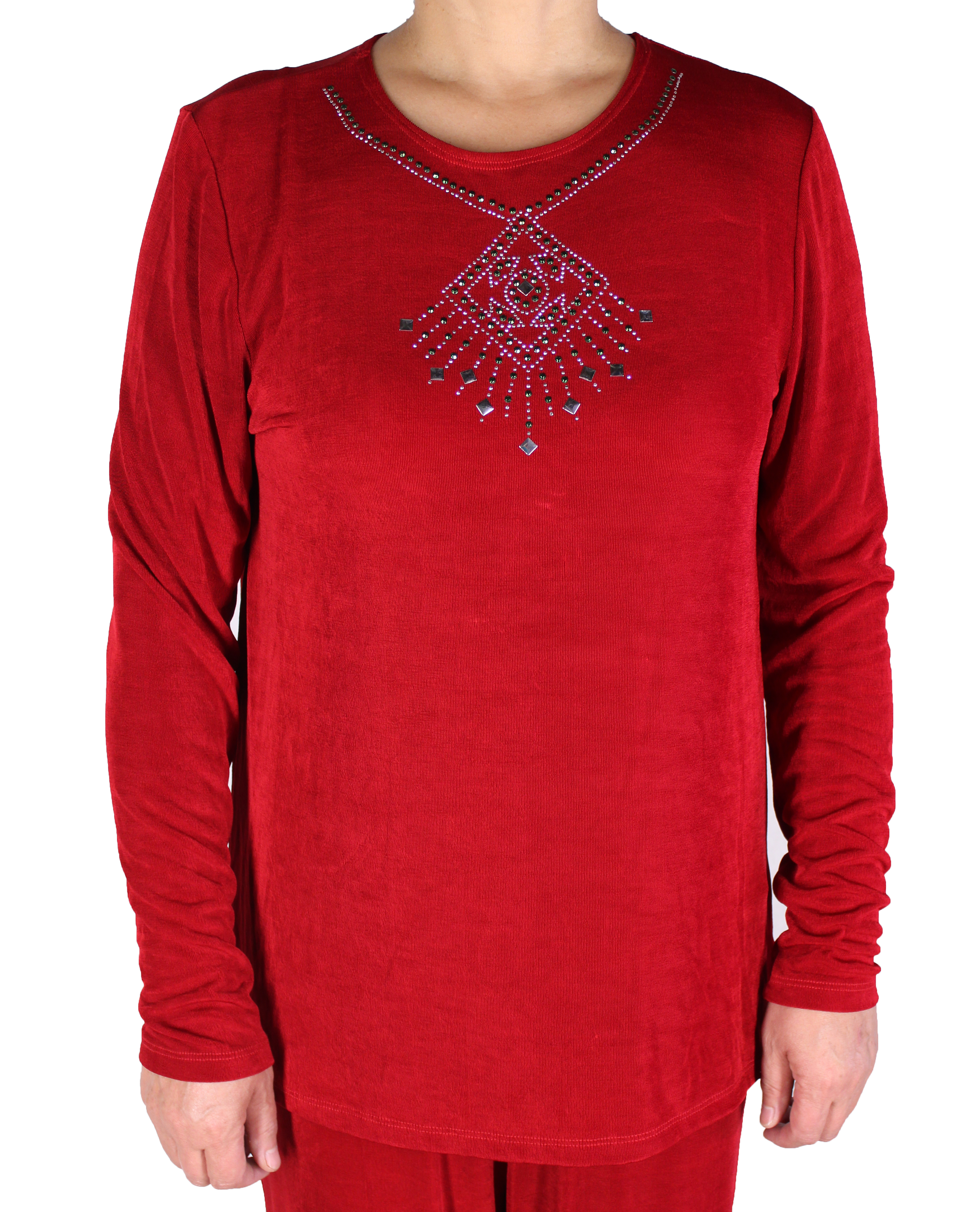 Women Slinky Jewel Neck Tunic Long Sleeve Top (016-3S)