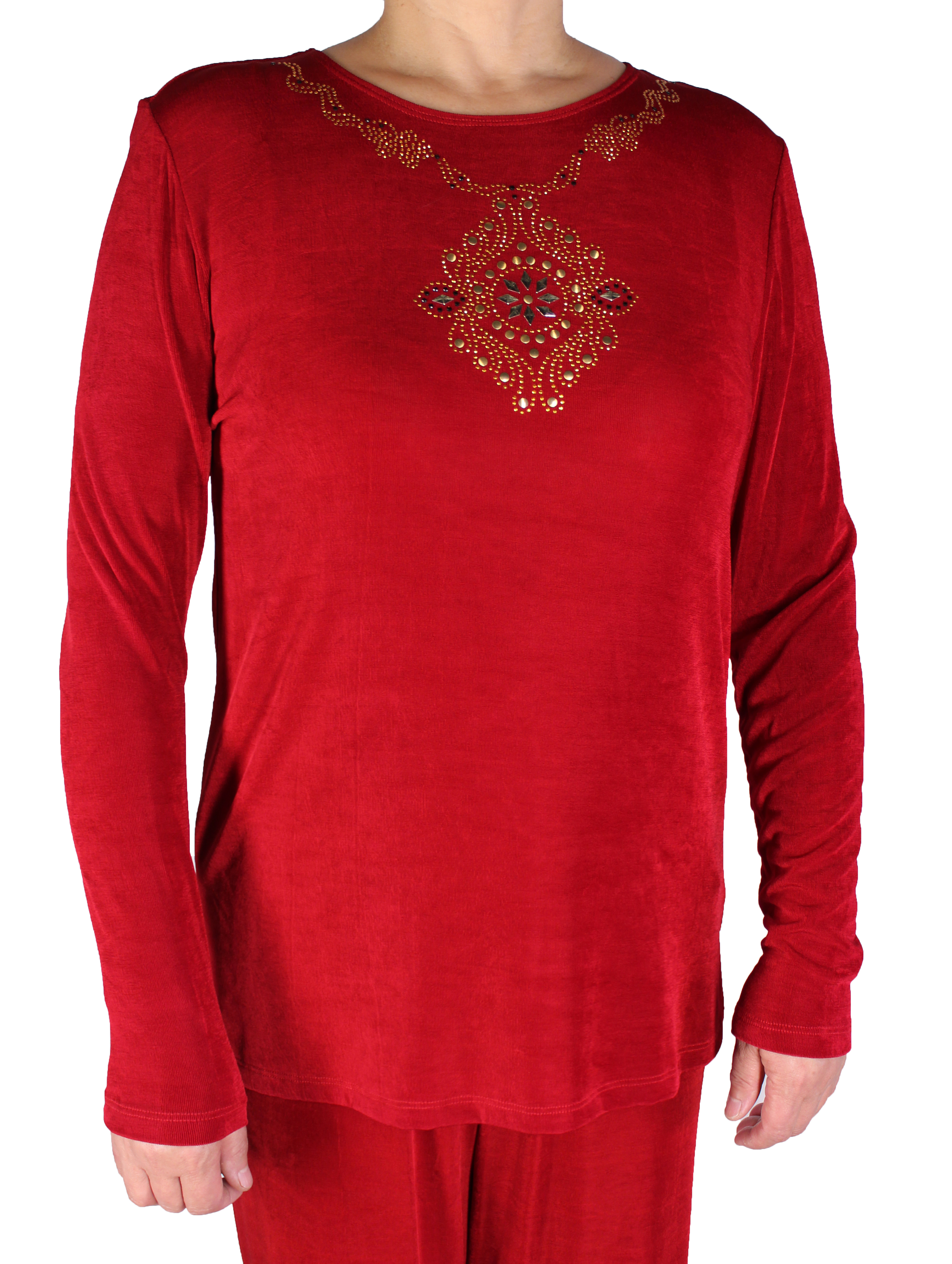 Women Slinky Jewel Neck Tunic Long Sleeve Top (016-2S)